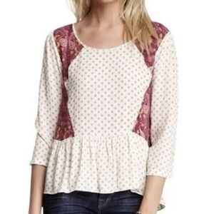 Free People Ditsy Floral And Paisley Ruffle Top M